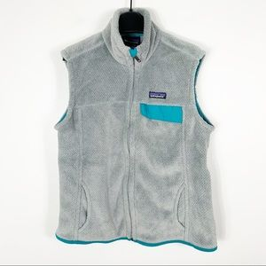 Patagonia women's re tool fleece vest gray blue